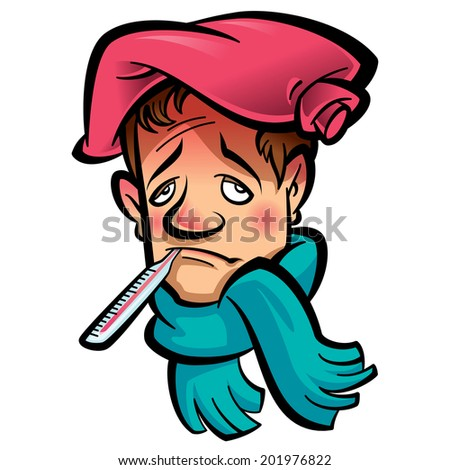 Patient sad man with thermometer in his mouth indicating high temperature green scarf and red ice bag on his head - stock vector