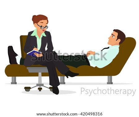 Patient talking to psychologist. Psychotherapy counseling. vector