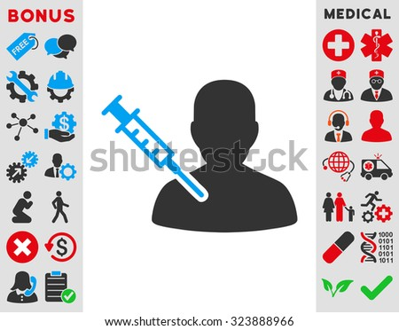 Patient Vaccination vector icon. Style is bicolor flat symbol, blue and gray colors, rounded angles, white background. - stock vector
