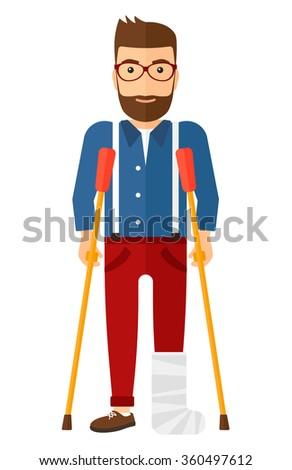 Patient with broken leg. - stock vector