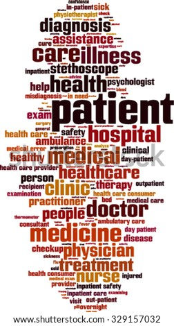 Patient word cloud concept. Vector illustration