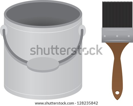 Patin brush and paint bucket