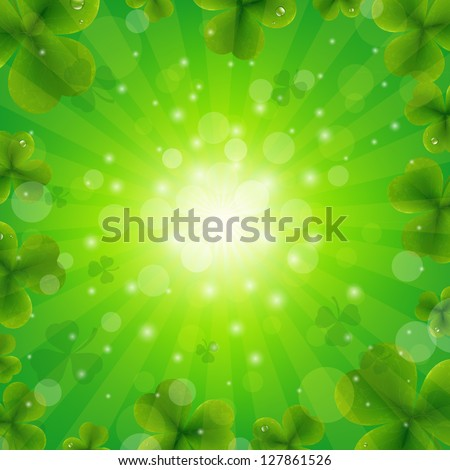Patrick Day Green Background With Gradient Mesh, Vector Illustration - stock vector