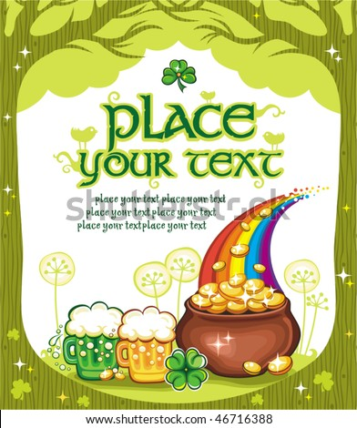 Patrick's Day natural frame with space for your text - stock vector