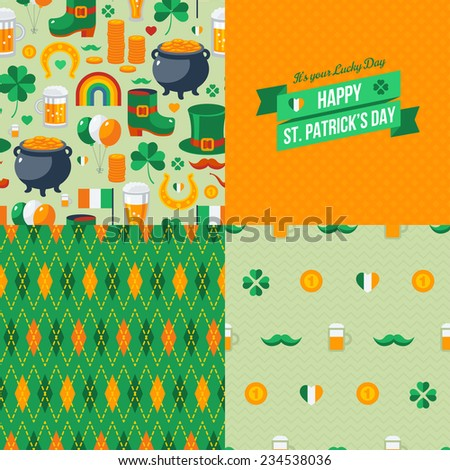Patrick's Day seamless patterns set with traditional symbols. Vector illustration. Green clover, leprechaun hat, pot with coins, Irish beer. Green ribbon label. - stock vector