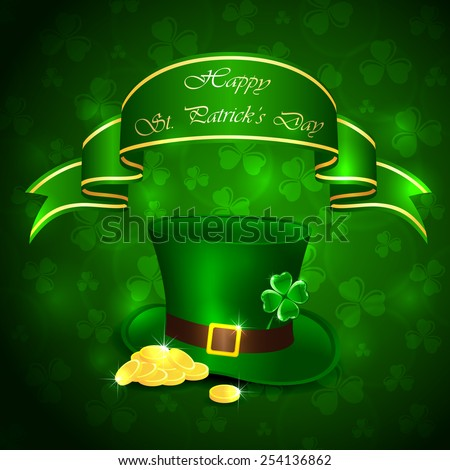 Patricks Day background with clover, green hat and leprechauns gold, illustration  - stock vector