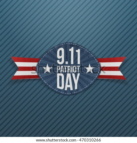 Patriot Day 9-11 Emblem with Ribbon