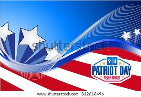 Patriot Day us flag graphics background illustration design - stock vector
