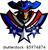 Patriot Mascot with Stars and Hat Graphic Vector Illustration - stock vector