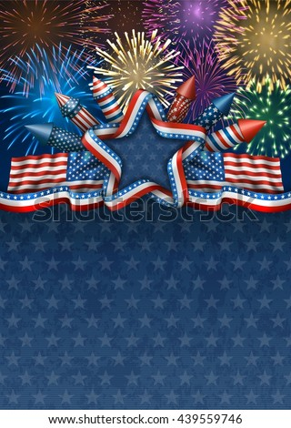 Patriotic american background for fourth of july, with american flags and star, with rockets and fireworks, EPS 10, contains transparency. - stock vector