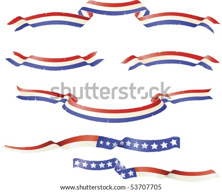 "Patriotic American flag theme banners ribbons. ""Grunge"" rough edge design - stock vector"