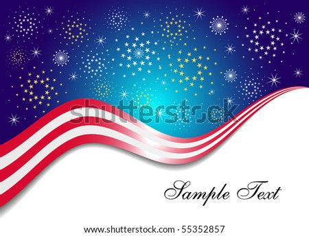 Patriotic Background with Fireworks - stock vector