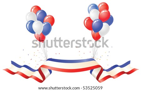 Patriotic Banner and Red White Blue Balloons - stock vector