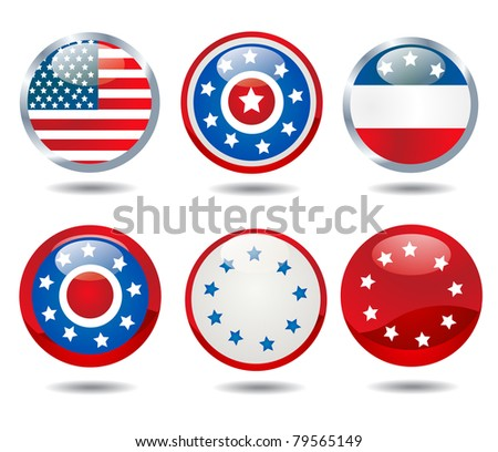 patriotic buttons - stock vector