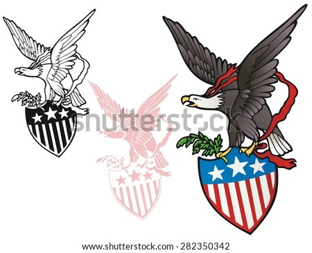 Patriotic emblem, eagle with stars and stripes shield - stock vector