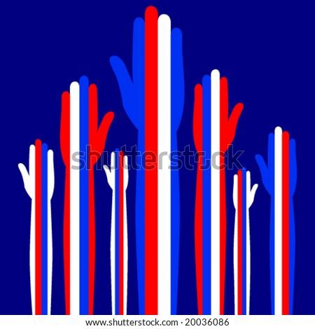 Patriotic hands waving or voting. - stock vector