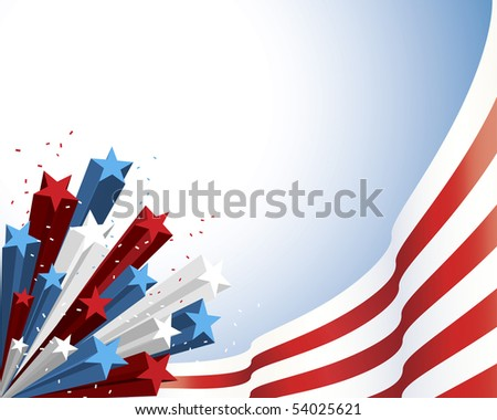 Patriotic Red and White Flag with three dimensional shaded star burst - stock vector
