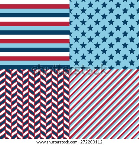 Patriotic red, white and blue geometric seamless patterns. Vector set with American symbols.