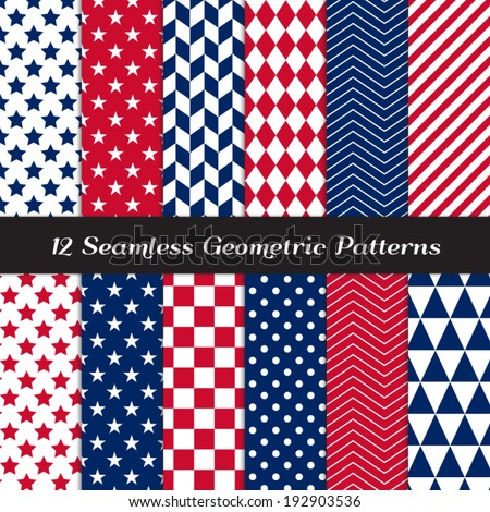 Patriotic Red, White & Blue Geometric Seamless Patterns. July 4th Backgrounds in Diamond, Chevron, Polka Dot, Checkerboard, Stars, Triangles, Herringbone & Stripes. Pattern Swatches with Global Colors - stock vector