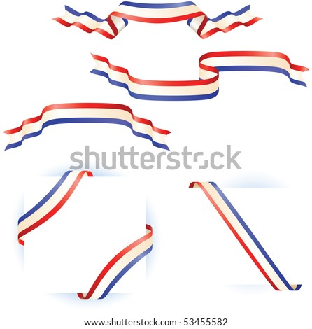 Patriotic Red White Blue Ribbon Banners - stock vector