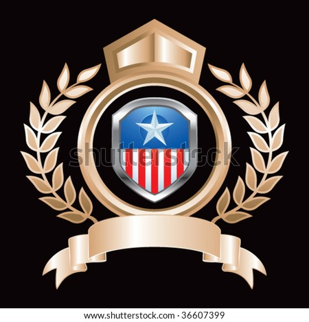 patriotic shield on bronze royal crest - stock vector