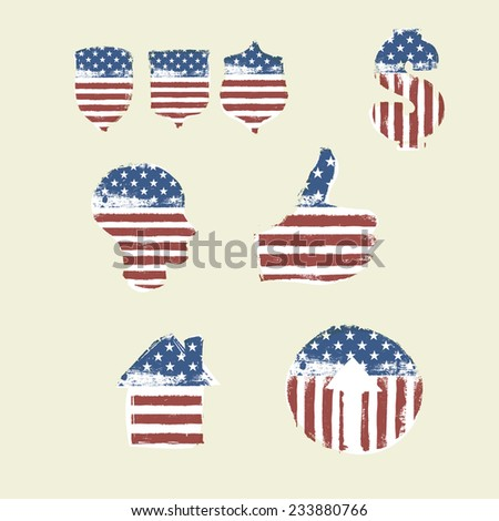 Patriotic Symbols Set. Composed from American Flag