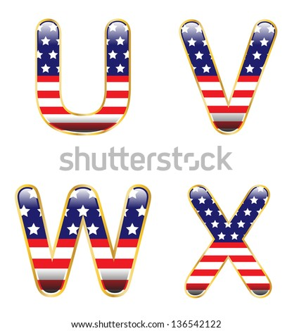 Patriotic UVWX - stock vector