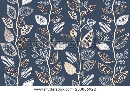 Pattern Abstract seamless texture with the original leaves. - stock vector