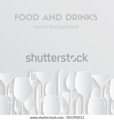 pattern background.. Fork, knife, glasses and spoon silhouettes - stock vector