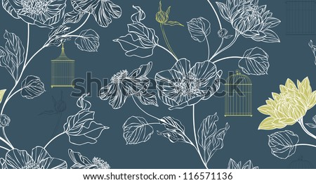 Pattern background with flowers and birdcages - stock vector