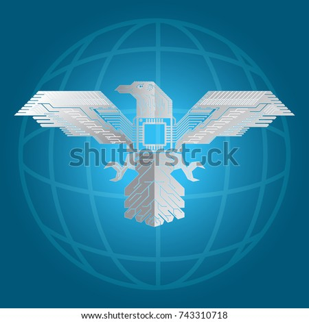 Pattern Circuits Shape Eagle On Abstract Stock Vector 743310718 ...