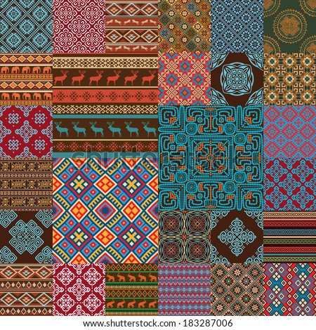 Pattern decoration elements in bright red, blue, brown, green, white... colors. Most popular ethnic seamless textures in one mega pack set collections. Multicolored vector illustrations.  - stock vector