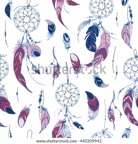 Pattern Dreamcatcher Ornaments Feathers Beads Native Stock Vector