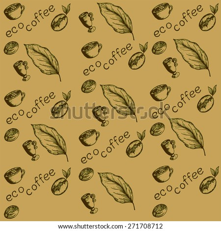 pattern eco coffee, coffee beans germinated, coffee berry, coffee leaves, cups, coffee eco label - stock vector