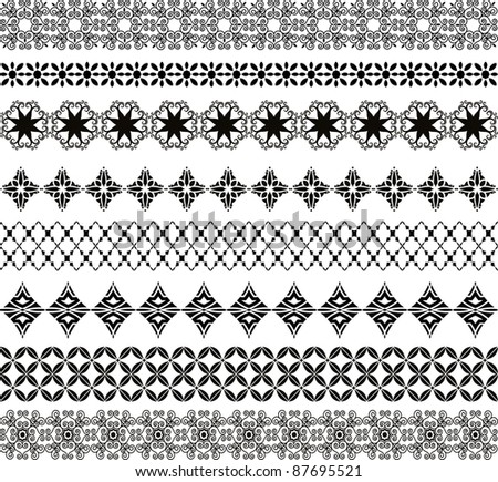 Pattern elements (each strip is a group of organic elements that can be separated) - stock vector