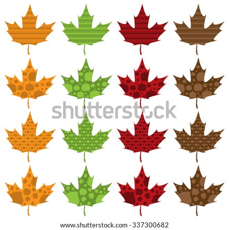 Pattern Filled Maple Leaves - stock vector