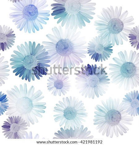 Pattern floral seamless background with blue daisy, chamomile flowers. Vector illustration, EPS10. - stock vector