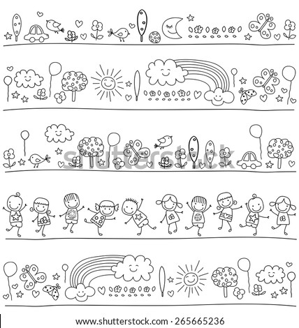 pattern for children with cute nature elements, child like drawing style - stock vector