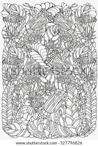 Pattern for coloring book. A4 size. Ethnic, floral, retro, doodle, vector, tribal design element. Black and white  background. zentangle - stock vector