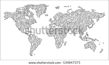Pattern coloring book black white doodle stock vector 2018 pattern for coloring book black and white doodle graphic illustration of map of world gumiabroncs Gallery
