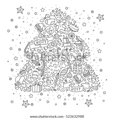 Pattern For Coloring Book Christmas Hand Drawn Decorative Elements In Vector Tree