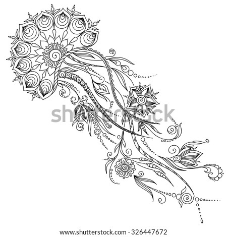 Pattern for coloring book. Coloring book pages for kids and adults. Abstract graphic illustration of jellyfish in vector . Henna Mehndi Tattoo Style Doodles - stock vector