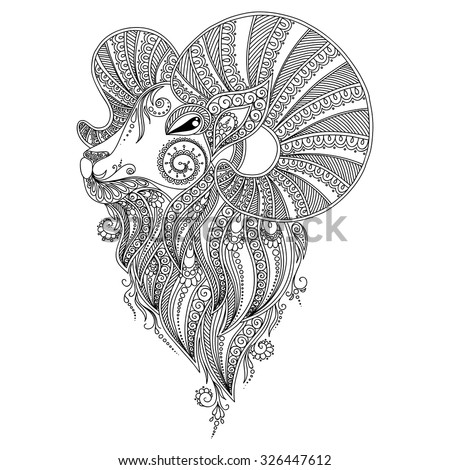 Pattern for coloring book.Coloring book pages for kids and adults. Ram's head. Henna Mehndi Tattoo Style Doodles - stock vector