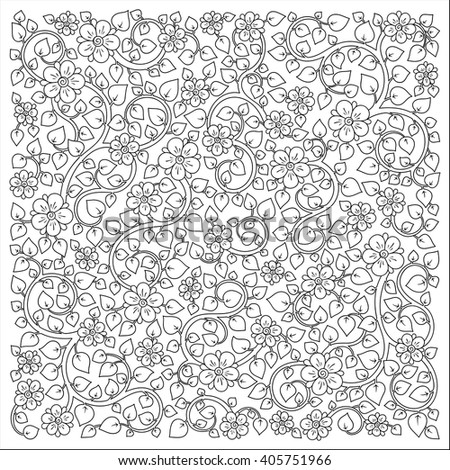 Pattern for coloring book. Ethnic, floral, retro, doodle, vector ,design element. Black and white background. Doodle vector background. Henna paisley mehndi doodles design tribal design element - stock vector