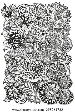 Pattern for coloring book.  Ethnic, floral, retro, doodle, vector, tribal design element. Black and white  background. - stock vector