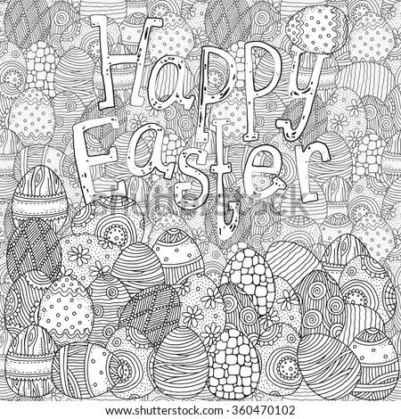 Pattern For Coloring Book Hand Drawn Decorative Elements In Vector Easter Eggs