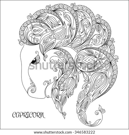 Zodiac capricorn pages for adults coloring pages for Capricorn coloring pages