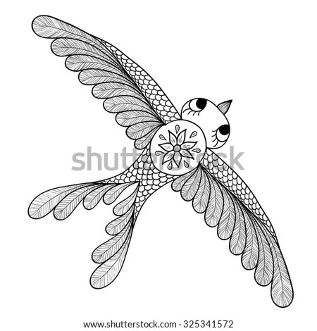 Pattern for coloring book. Henna Mehendi Tattoo Style Doodles bird. Design element.. Hand Drawn vector illustration isolated on white background.Coloring book pages for kids and adults. - stock vector