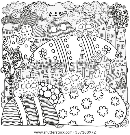Pattern for coloring book with artistically houses and cars. Magic City, fields, landscape.  Made by trace from sketch. Ink pen. Zentangle. Black and white pattern in vector. - stock vector