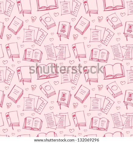 Pattern for girls with books, papers and hearts. Seamless background with sketches of copybooks - stock vector